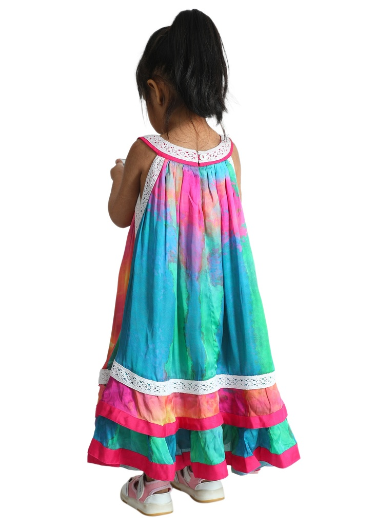 Wear We Met - Girls Tie & Dye Halter Neck Dress back