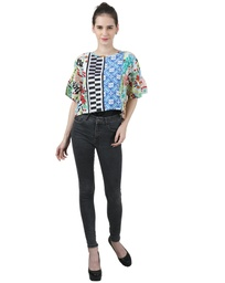 Wear We Met Printed and Lace Blouse